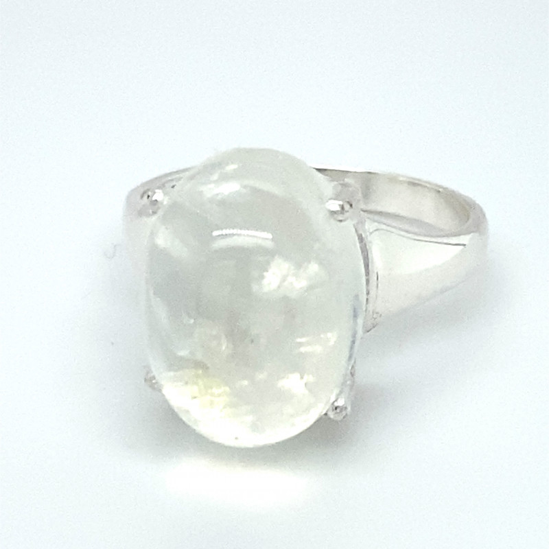 Moonstone 13.40ct Platinum Finish Solid 925 Sterling Silver Ring