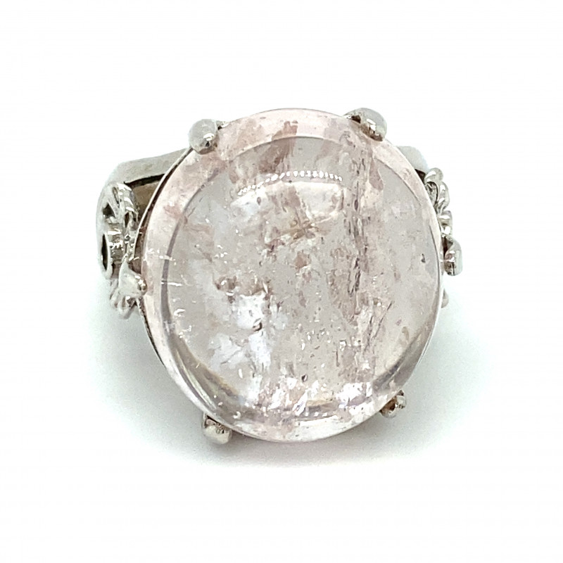 Morganite 24.10ct Platinum Finish Solid 925 Sterling Silver Ring