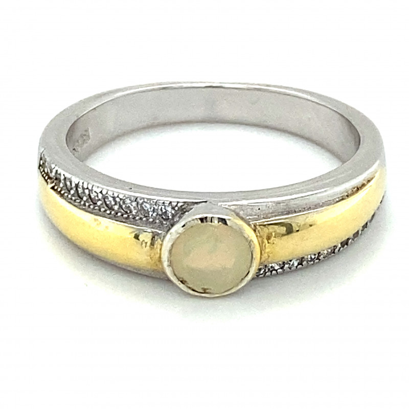 Opal .36ct Golden Rhodium Finish Solid 925 Sterling Silver Ring