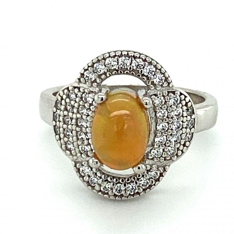 Orange Opal 1.09ct Platinum Finish Solid 925 Sterling Silver Ring