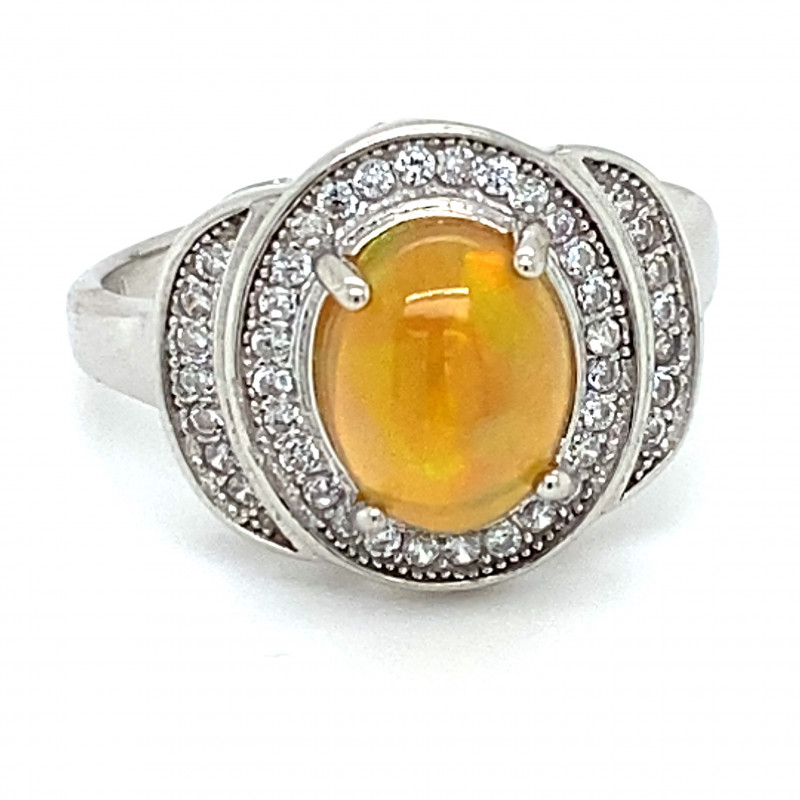Opal 1.82ct Platinum Finish Solid 925 Sterling Silver Ring