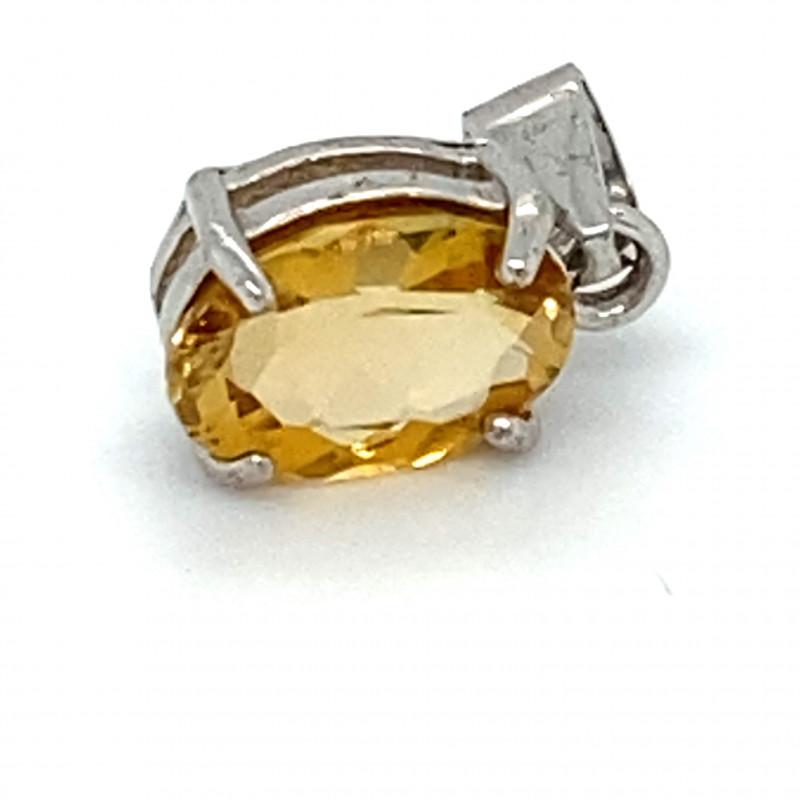 Orange Tourmaline .85ct White Gold Finish Solid 925 Sterling Silver Pendant