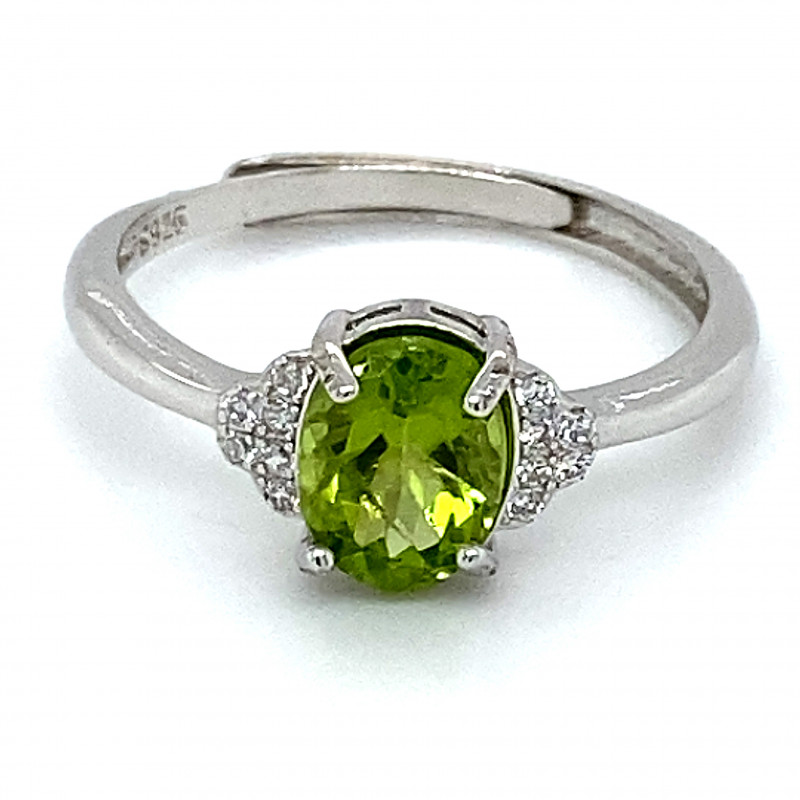 Peridot 1.45ct White Gold Finish Solid 925 Sterling Silver Ring