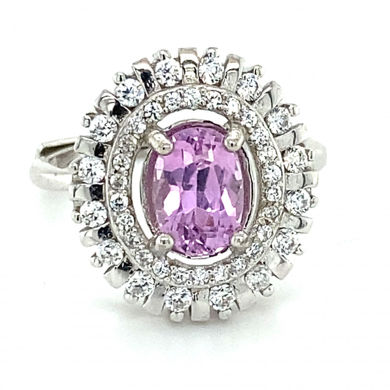 Pink Kunzite 1.40ct White Gold Finish Solid 925 Sterling Silver Ring
