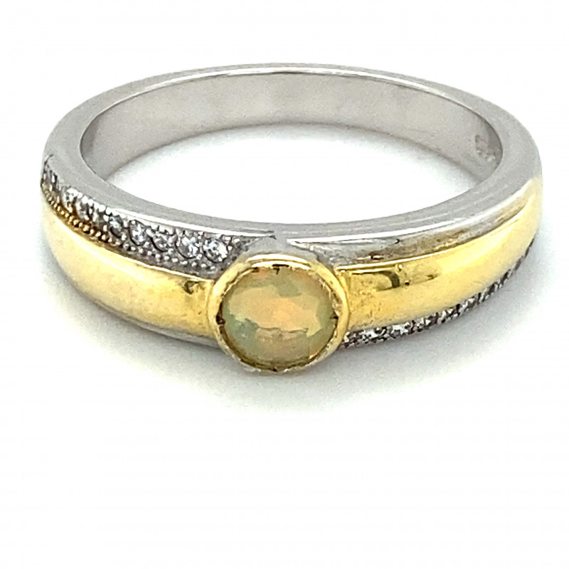 Precious Opal .34ct Golden Rhodium Finish Solid 925 Sterling Silver Ring