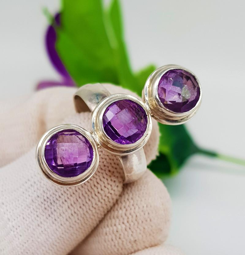 Natural Three Amethysts Stones Ring 925 Silver