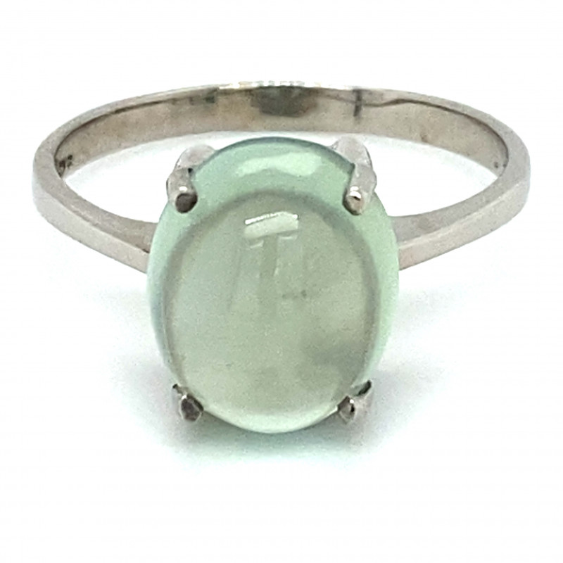 Prehnite 3.50ct Platinum Finish Solid 925 Sterling Silver Ring