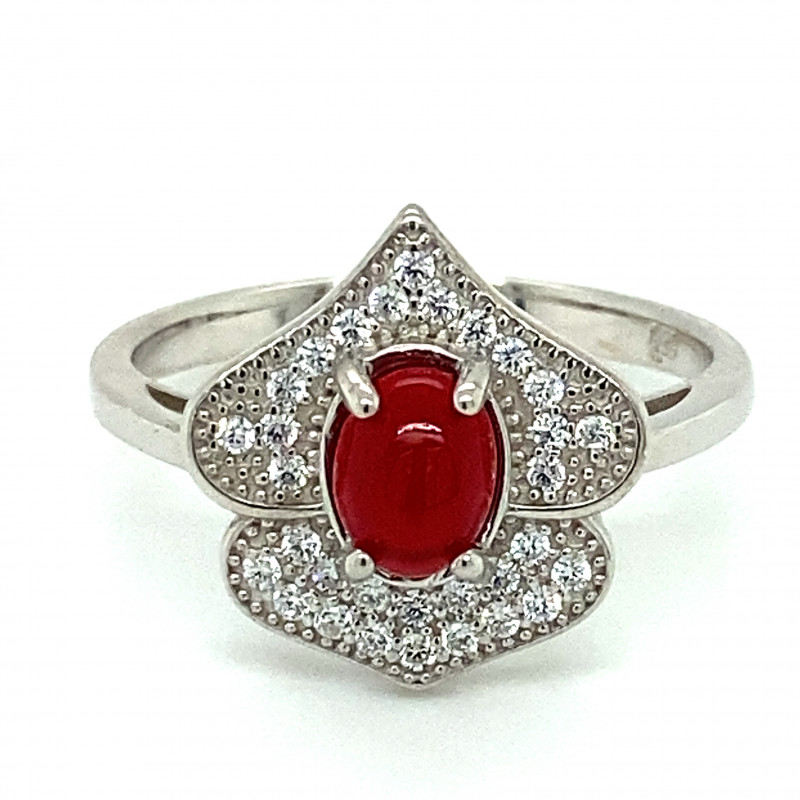 Red Opal .80ct Platinum Finish Solid 925 Sterling Silver Ring