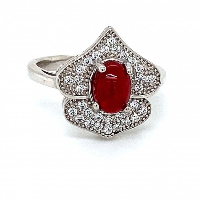 Red Opal .87ct Platinum Finish Solid 925 Sterling Silver Ring