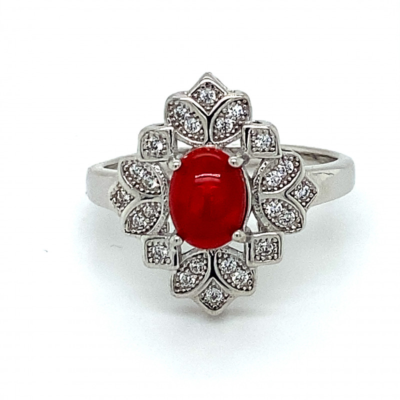 Red Opal .94ct Platinum Finish Solid 925 Sterling Silver Ring