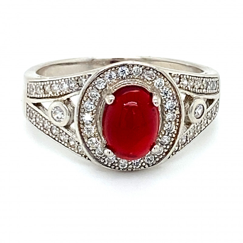 Red Opal 1.05ct Platinum Finish Solid 925 Sterling Silver Ring