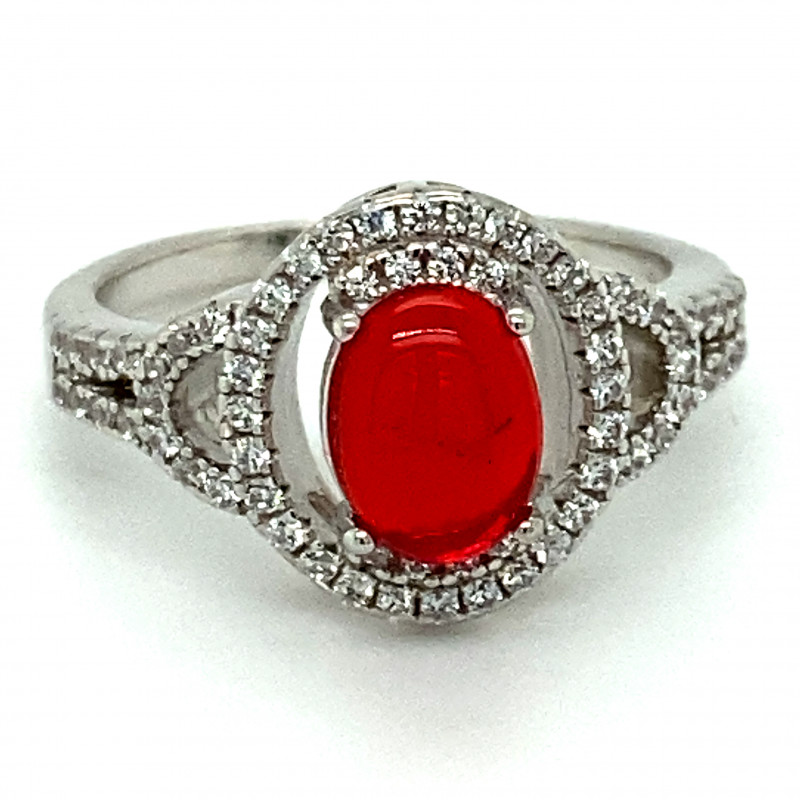 Red Opal 1.30ct Platinum Finish Solid 925 Sterling Silver Ring