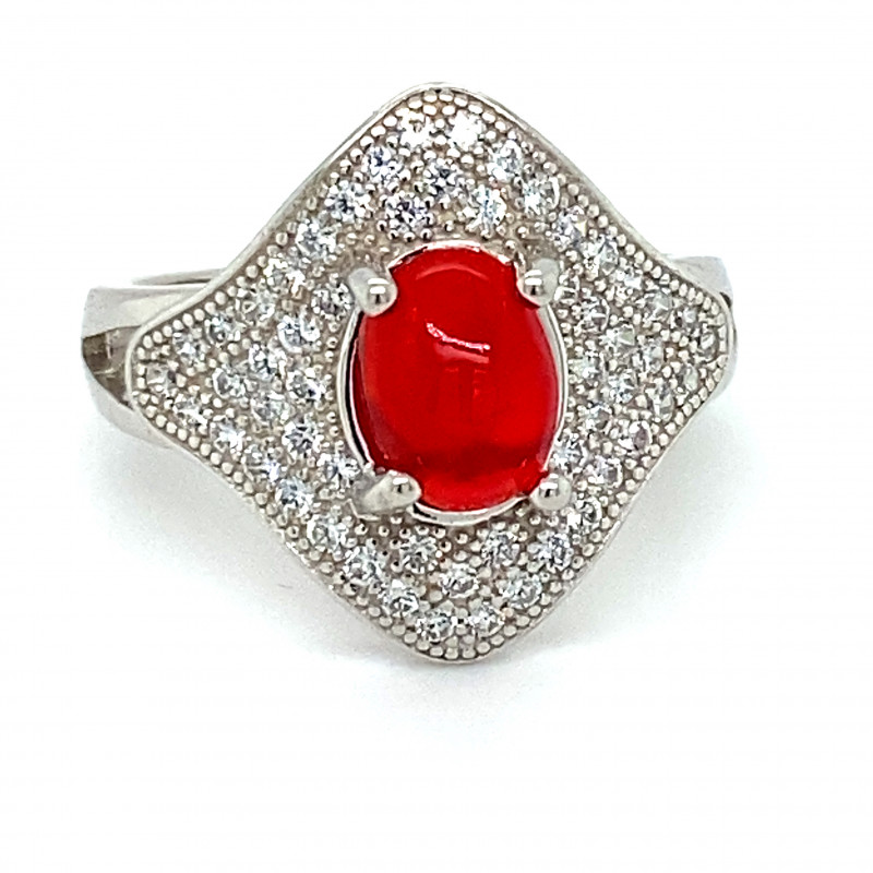 Red Opal 1.32ct Platinum Finish Solid 925 Sterling Silver Ring