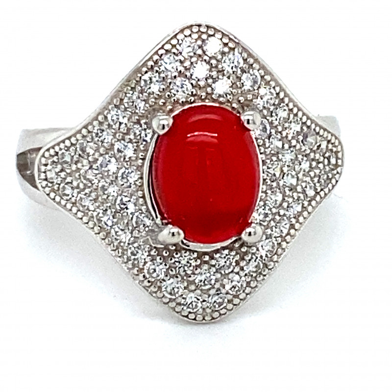 Red Opal 1.50ct Platinum Finish Solid 925 Sterling Silver Ring