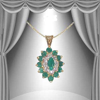 Fine Jewelry 3.39 CT Emerald & Diamond Designer Necklace $610