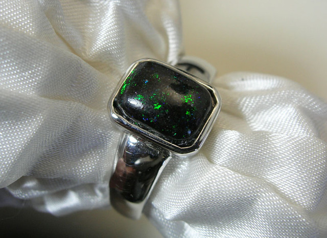 "925 SILVER and ""FAIRY"" OPAL MATRIX Ring Size US6 #LMJ10"