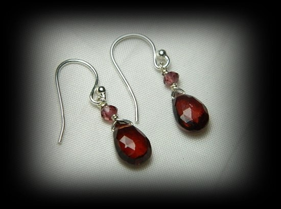 Quality Spessarite/Rhodolite Garnet .925 Silver Earrings JW12