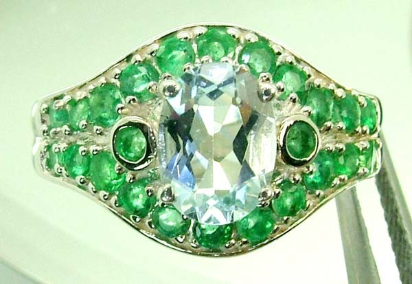 EMERALD  SILVER RING  26.05 CTS  SIZE-7.75    RJ-228
