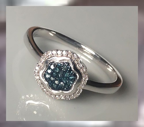 10KT WG & Blue Diamond Ring ~ Elegantly Beautiful