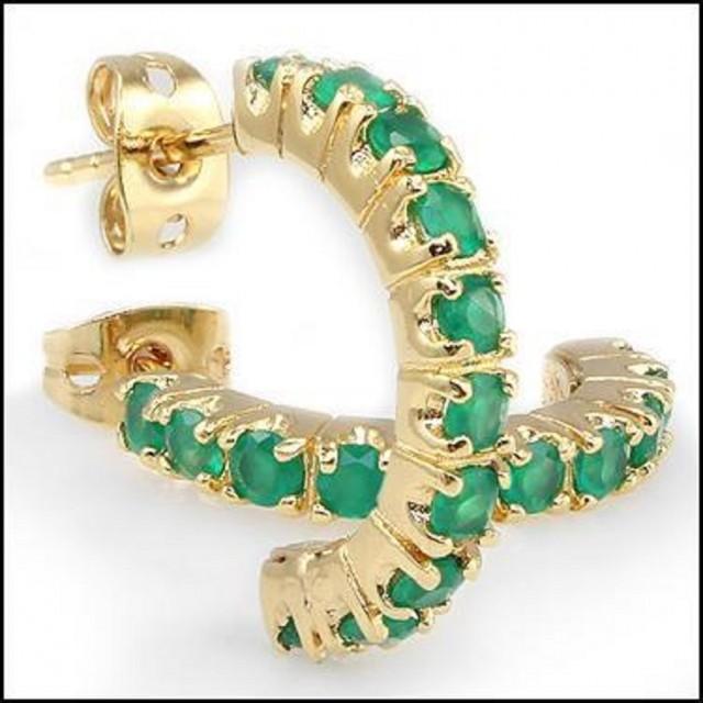 3.12 CT Emerald Hoopes Designer Earrings MSRP $560