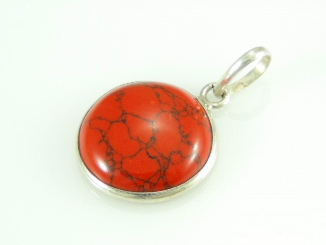 Unique / Exotic 925 Sterling Silver Pendant (RED Turquoise)