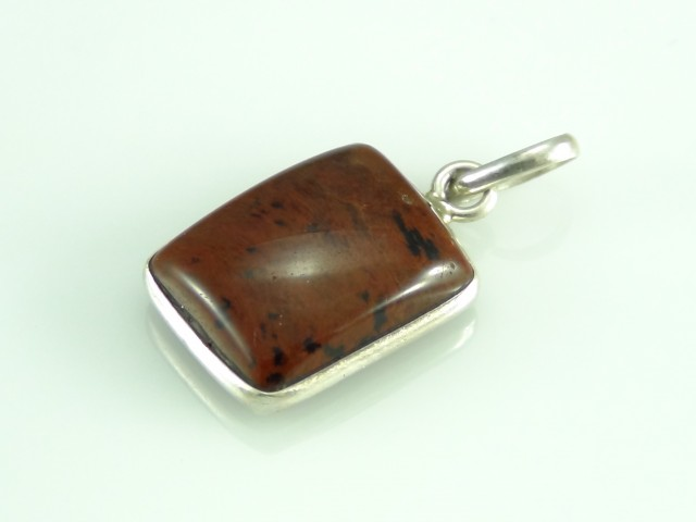 Unique / Exotic 925 Sterling Silver Pendant (Obsidian)