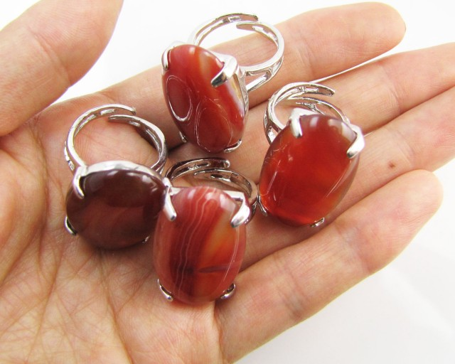 Parcel deal Four Large  Agate  Rings  MJA 1196