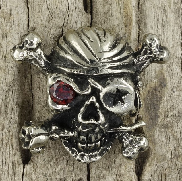 Men's Wallet Snap Concho, Pirate Skull, Silver Brass