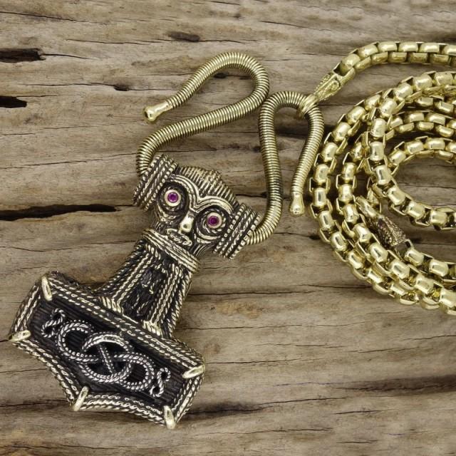 Thor's Hammer Vintage Style, Full Necklace Handmade Art