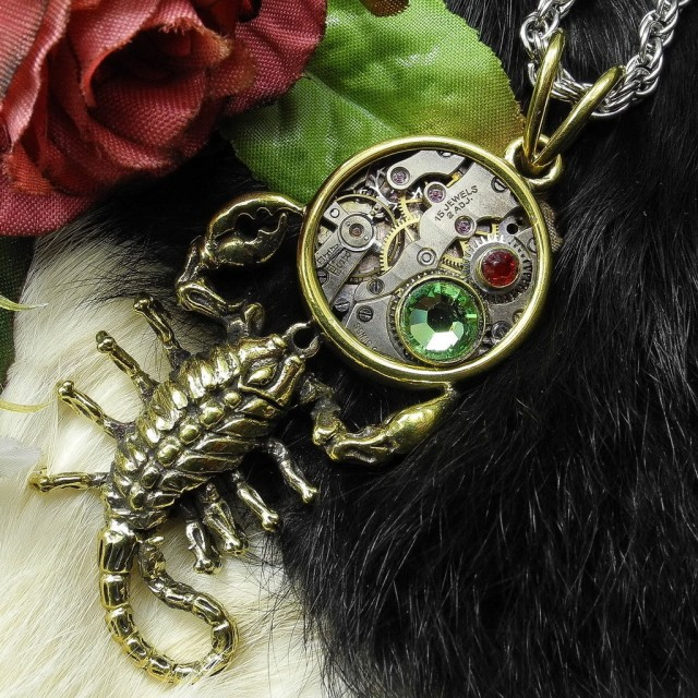 Steampunk Scorpion Pendant, Alt Art, Necklace, Mixed Media