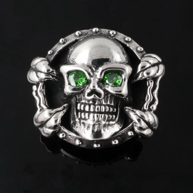 Biker Skull & Claw Wallet Snap Concho Silver Brass