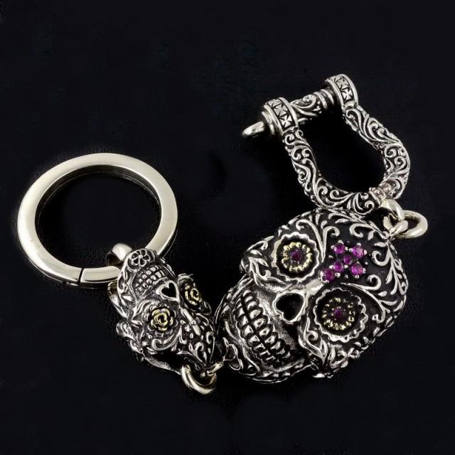 Sugar Skull Box Keychain, Silver Plus Alloy, Original Designer Masterwork
