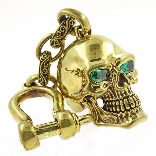 Spiderweb Skull, Keychain, Green Eyes, Signed by Artist.
