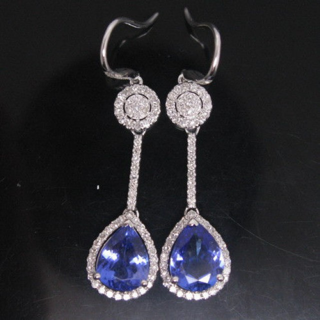 4.51 CTS PEAR SOLID 18K WHITE GOLD! DIAMOND BLUE TANZANITE EARRINGS