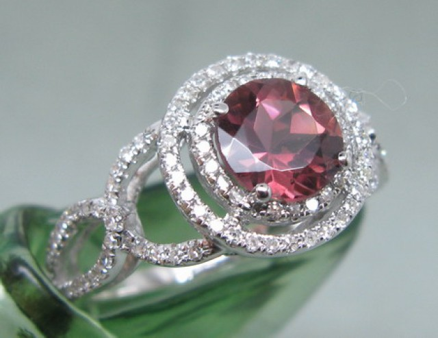 SOLID 14K WHITE GOLD NATURAL PINK TOURMALINE VS SPARKLY DIAMOND RING