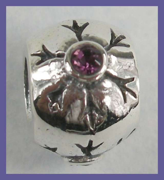 """""""PENDANT BEAD OR BEAD CHARM - STERLING SILVER & AMETHYST CRYSTAL"""