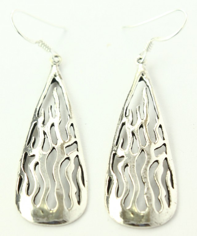 925 Solid Sterling Silver Plain Oxidised Handcrafted Vintage Earrings