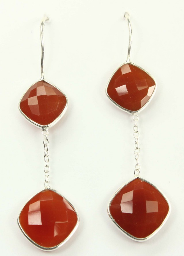925 Solid Sterling Silver Natural Red Onyx Faceted Dangle Earring