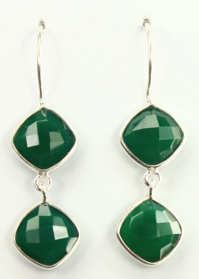 925 Solid Sterling Silver Natural Gemstones Green Onyx Faceted Dangle Earri