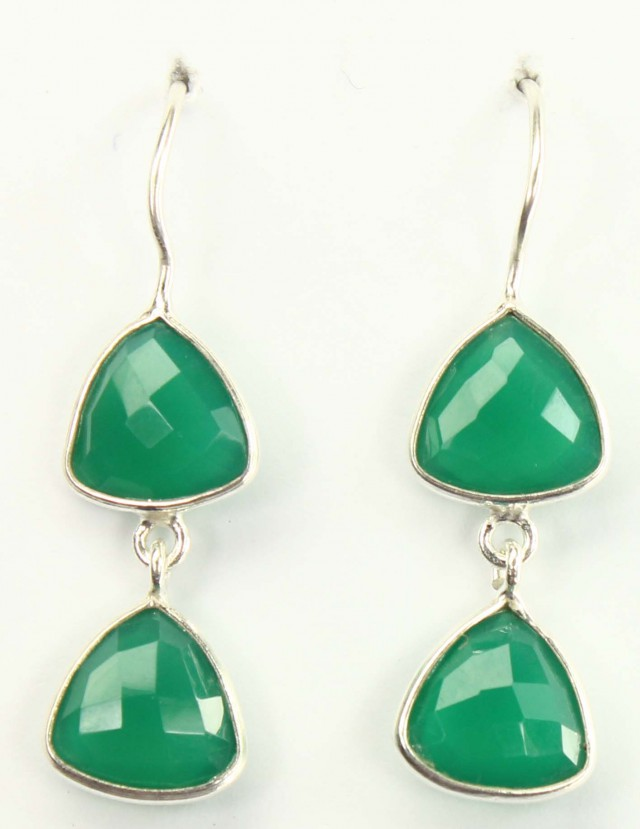 925 Solid Sterling Silver Natural Gemstones Green Onyx Faceted Earring Amaz