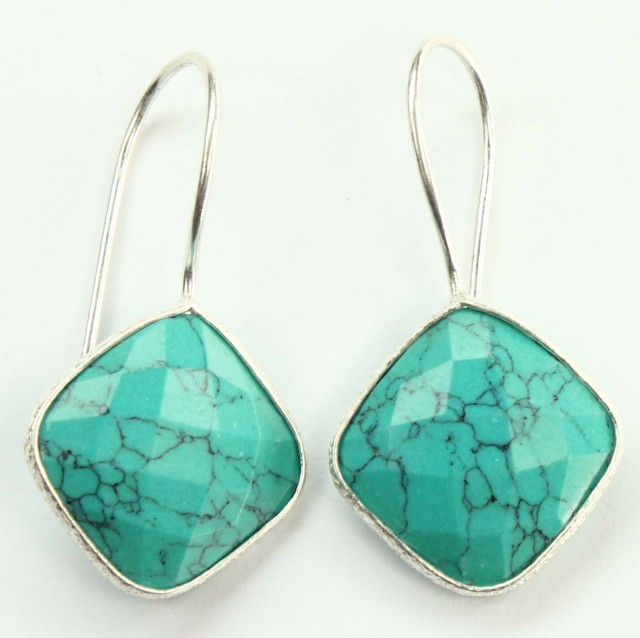 925 Solid Sterling Silver Natural Gemstones Turquoise Square Faceted Earrin