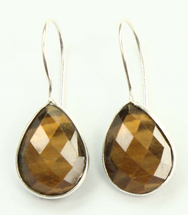 925 Solid Sterling Silver Natural Gemstones Tiger Eye`s Pears Faceted Earri