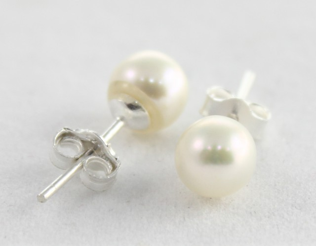925 Solid Sterling Silver Natural Gemstones Pearl Cabochon (Studs) Earrings