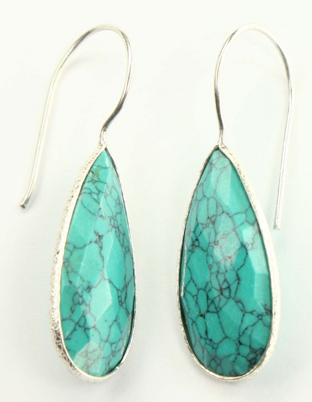 925 Solid Sterling Silver Natural Gemstones Turquoise Faceted Dangle Earrin