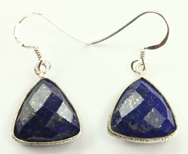 925 Solid Sterling Silver Natural Gemstones Lapis Lazuli Faceted Dangle Ear