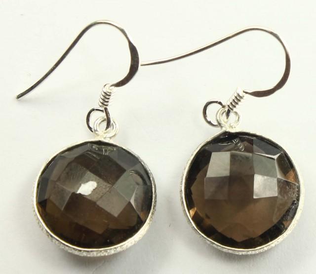 925 Solid Sterling Silver Natural Gemstones Smoky Quartz Faceted Dangle Ear