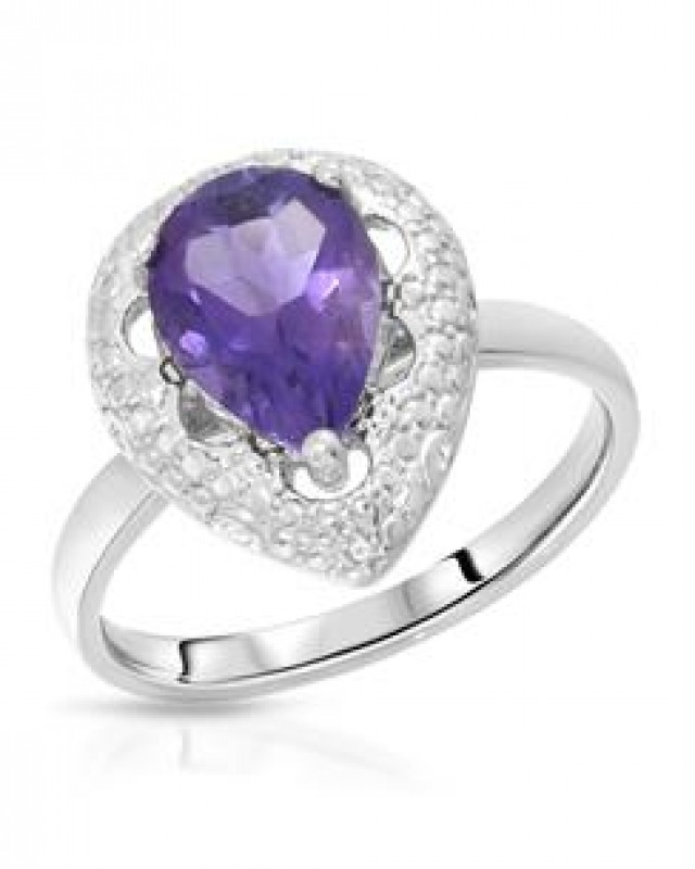 GENUINE AMETHYST AND DIAMOND RING SET IN 925 STERLING SILVER.  THIS IS THE EXACT ITEM YOU WILL RECIEVE. RING IS SIZE 7.