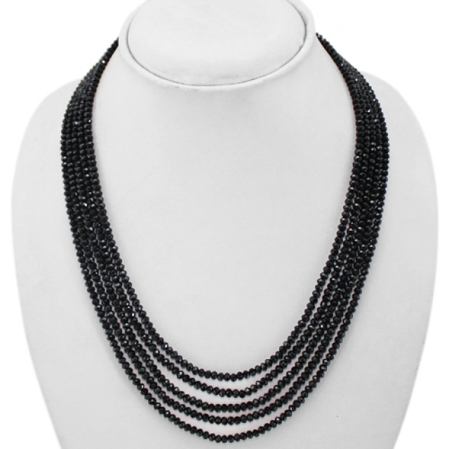 Sparkling 230.00 CTS NATURAL 5 LINE BLACK SPINEL BEADS NECKLACE