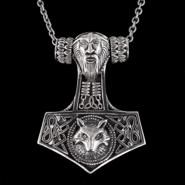Solid Sterling Silver Thor's Hammer Pendant & Necklace with Odin