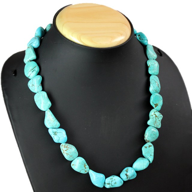 Natural Untreated Turquoise Beads Necklace